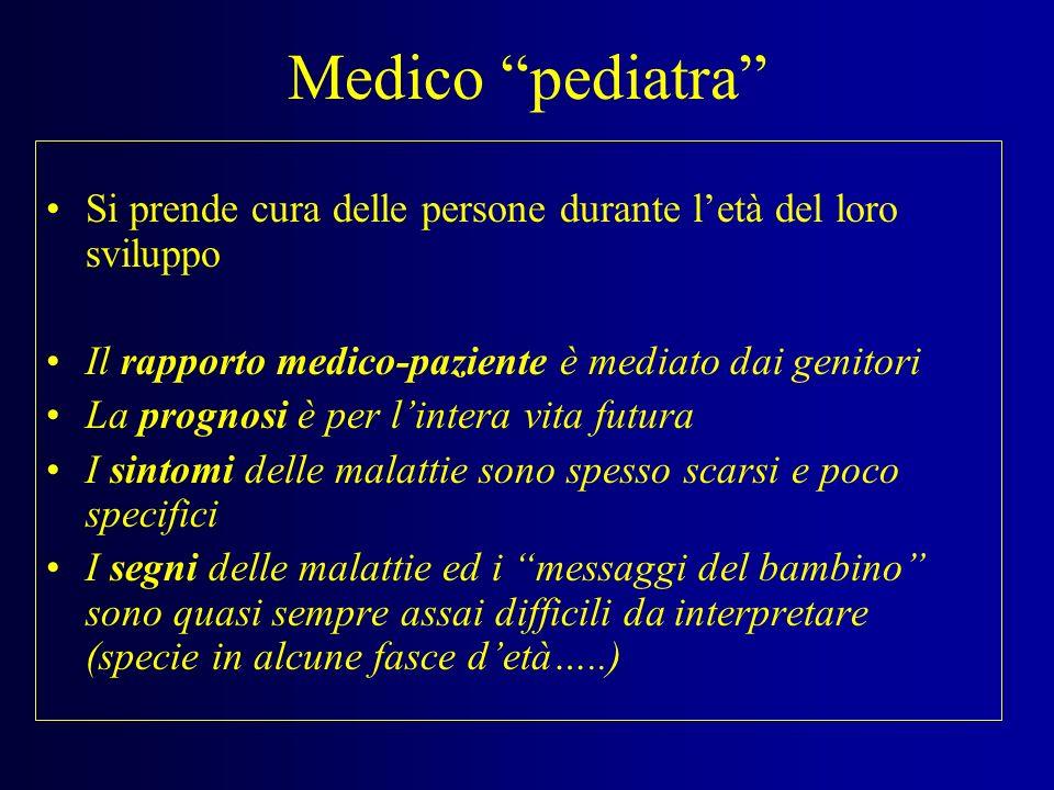Medico pediatra Si prende cura delle persone durante l'età del loro sviluppo. Il rapporto medico-paziente è mediato dai genitori.