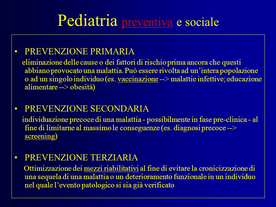 Pediatria preventiva e sociale