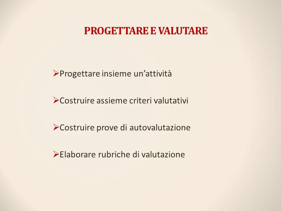 PROGETTARE E VALUTARE Progettare insieme un'attività