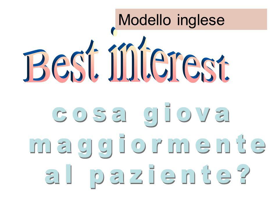 Modello inglese Best interest cosa giova maggiormente al paziente