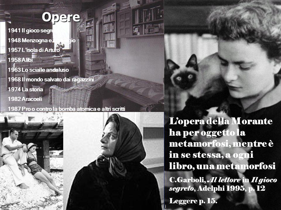 Opere1941 Il gioco segreto. 1948 Menzogna e sortilegio. 1957 L'isola di Arturo. 1958 Alibi. 1963 Lo scialle andaluso.