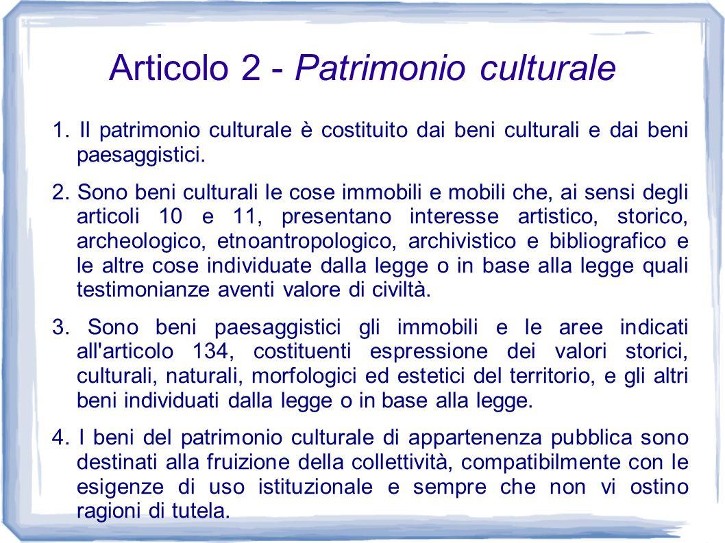 Articolo 2 - Patrimonio culturale