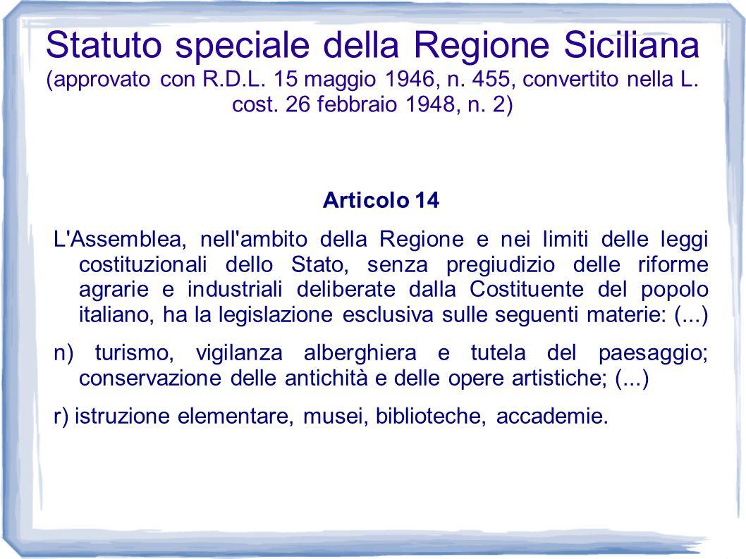 Statuto speciale della Regione Siciliana (approvato con R. D. L