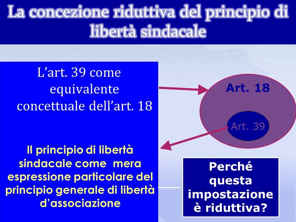 La concezione riduttiva del principio di libertà sindacale
