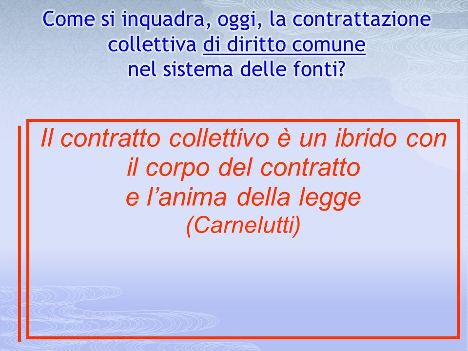 Il contratto collettivo è un ibrido con il corpo del contratto