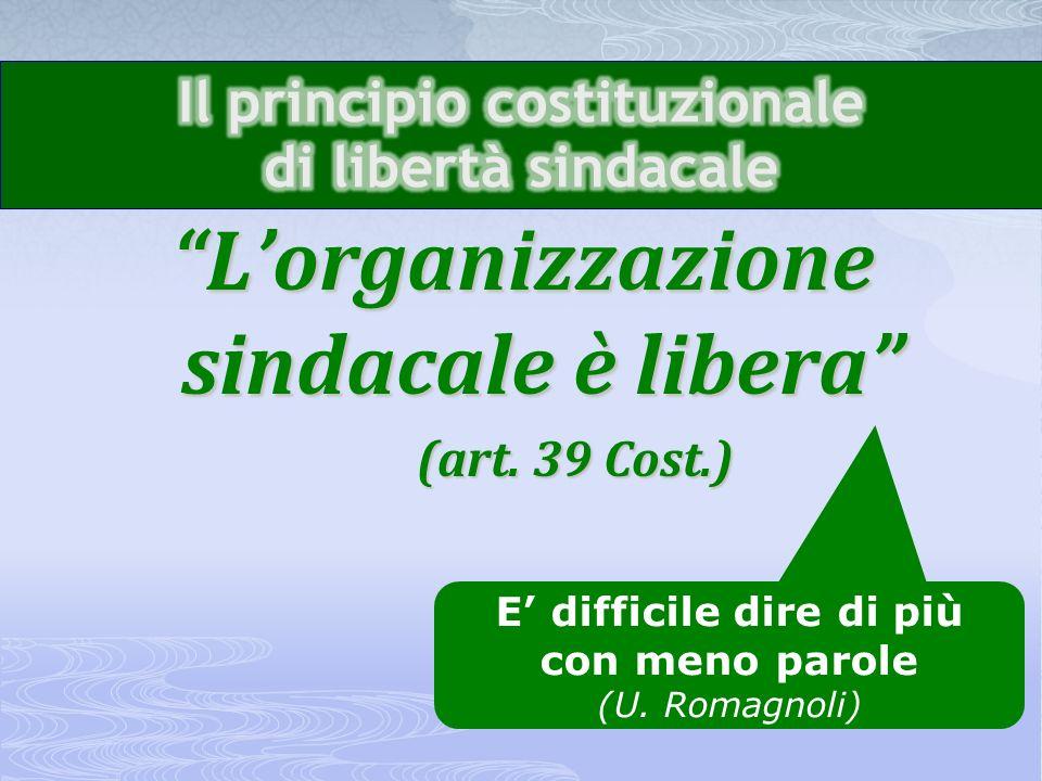Il principio costituzionale di libertà sindacale