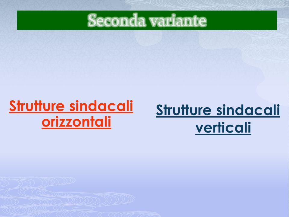 Strutture sindacali orizzontali Strutture sindacali verticali