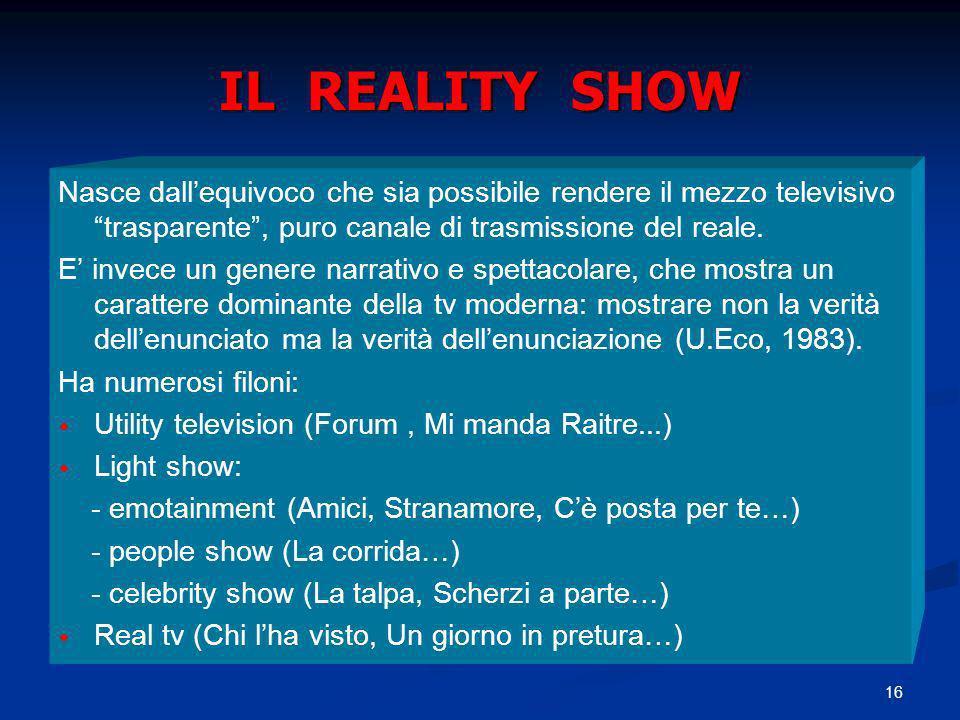 IL REALITY SHOW Nasce dall'equivoco che sia possibile rendere il mezzo televisivo trasparente , puro canale di trasmissione del reale.