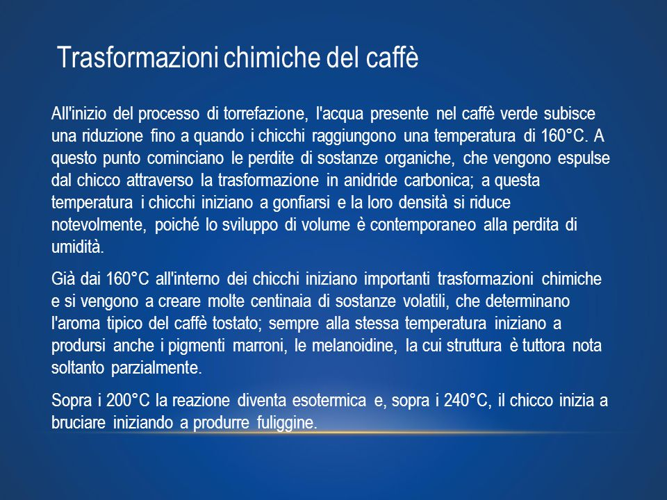 Trasformazioni chimiche del caffè