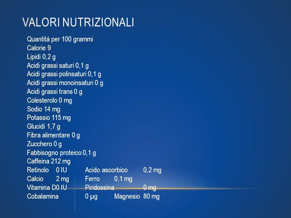 Valori nutrizionali Quantità per 100 grammi Calorie 9 Lipidi 0,2 g