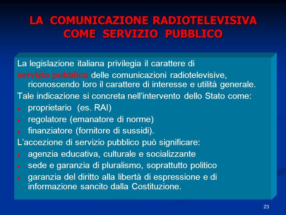 LA COMUNICAZIONE RADIOTELEVISIVA COME SERVIZIO PUBBLICO