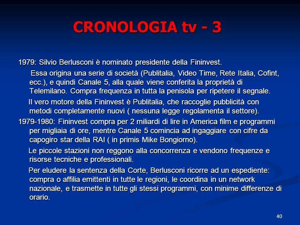 CRONOLOGIA tv - 3 1979: Silvio Berlusconi è nominato presidente della Fininvest.
