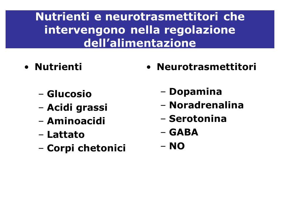 Nutrienti e neurotrasmettitori che intervengono nella regolazione dell'alimentazione