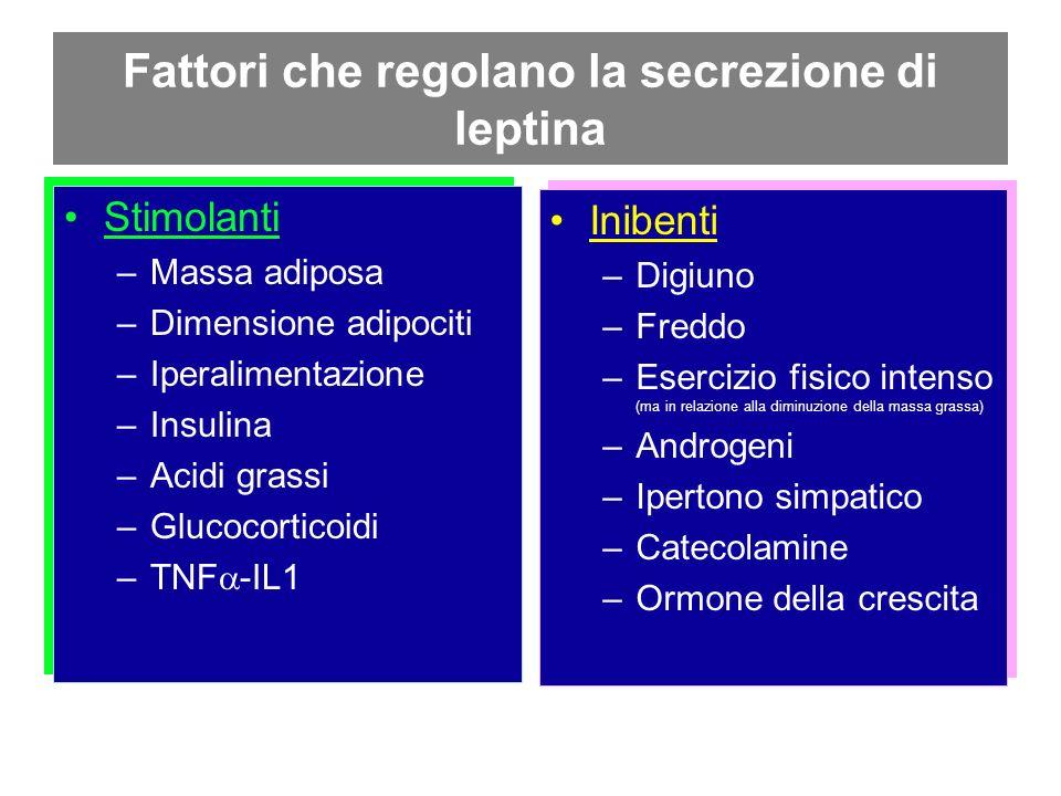 Fattori che regolano la secrezione di leptina