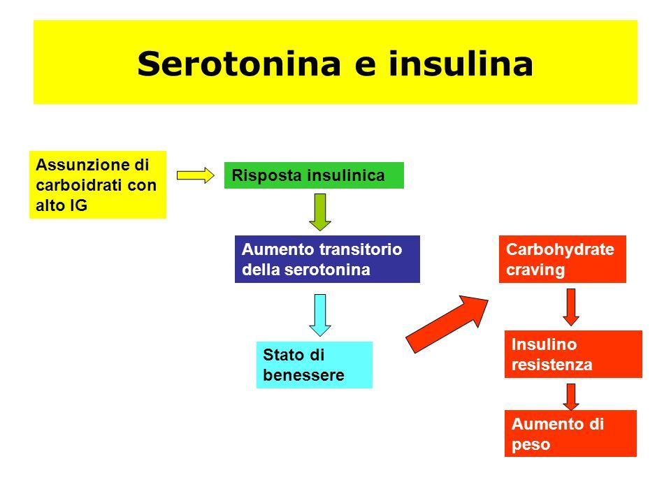 Serotonina e insulina Assunzione di carboidrati con alto IG