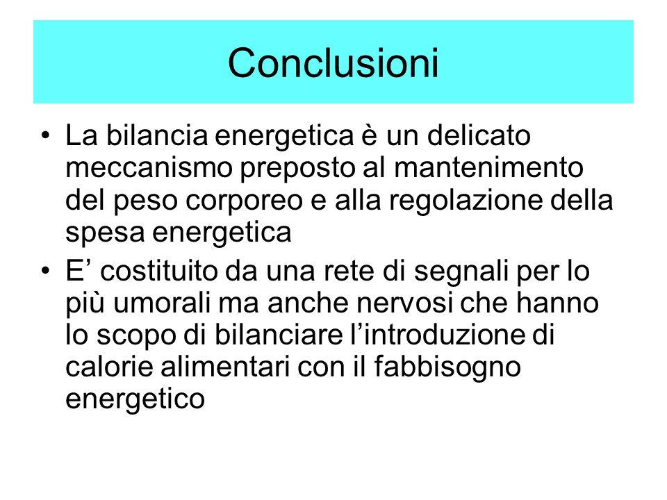 Conclusioni La bilancia energetica è un delicato meccanismo preposto al mantenimento del peso corporeo e alla regolazione della spesa energetica.