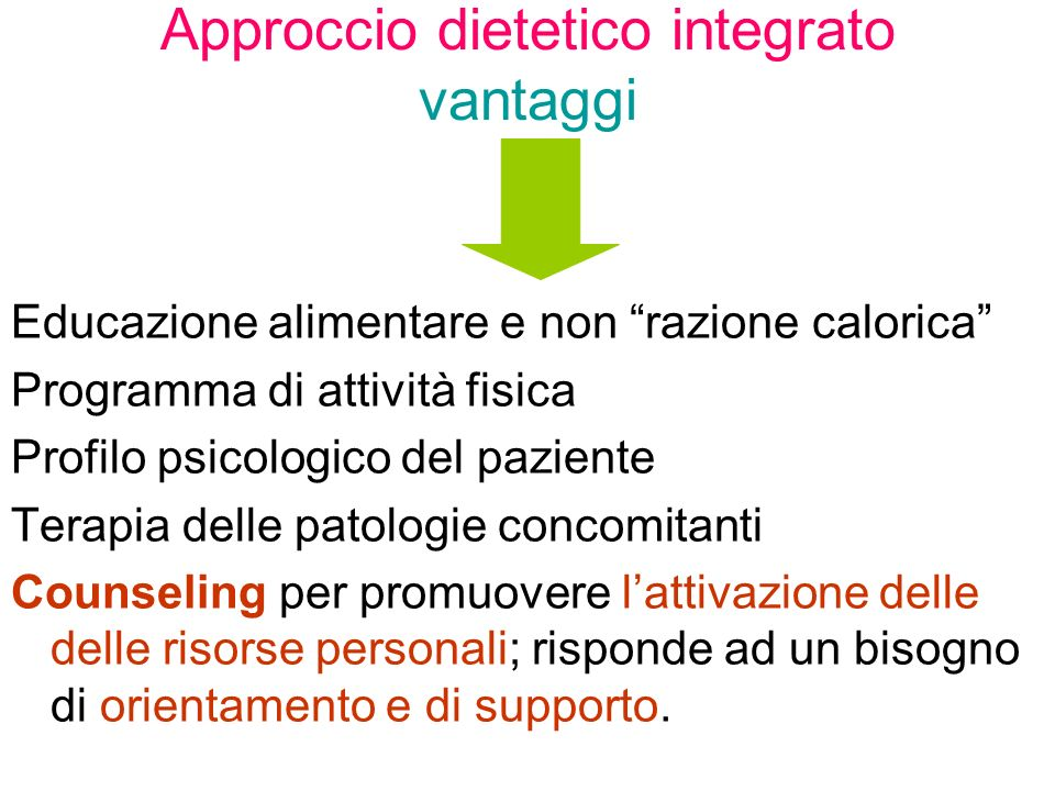 Approccio dietetico integrato vantaggi