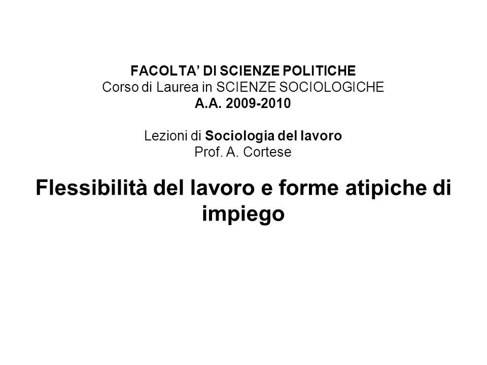 FACOLTA' DI SCIENZE POLITICHE Corso di Laurea in SCIENZE SOCIOLOGICHE A.A.