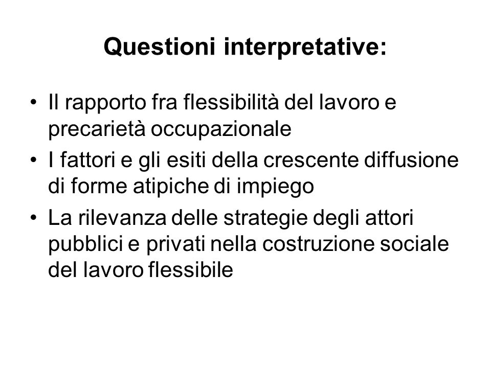Questioni interpretative: