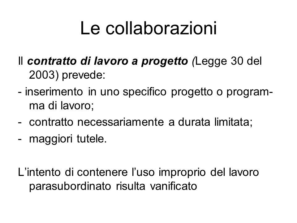Le collaborazioni Il contratto di lavoro a progetto (Legge 30 del 2003) prevede: - inserimento in uno specifico progetto o program-ma di lavoro;