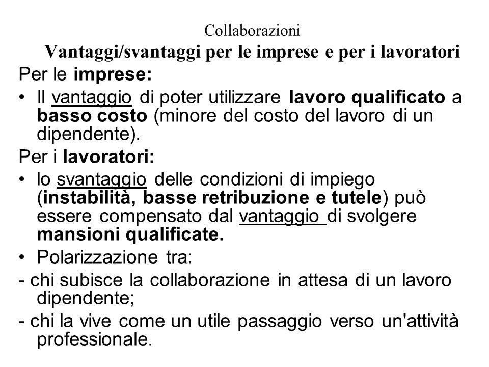 Collaborazioni Vantaggi/svantaggi per le imprese e per i lavoratori