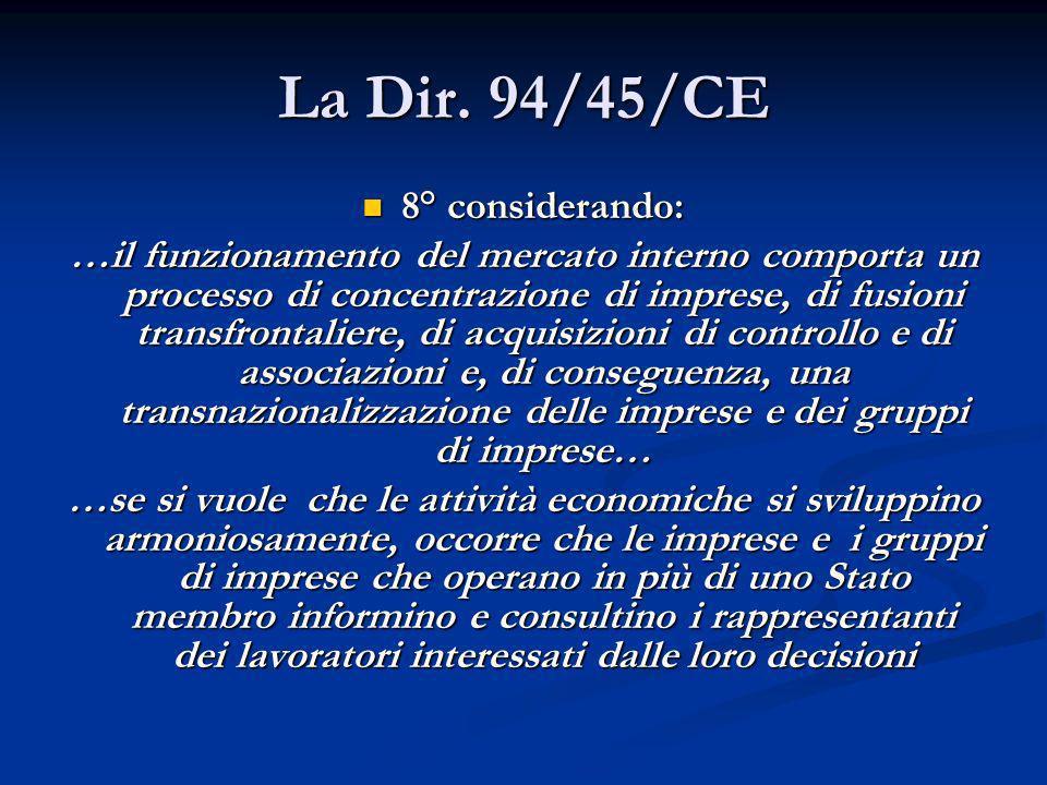 La Dir. 94/45/CE 8° considerando: