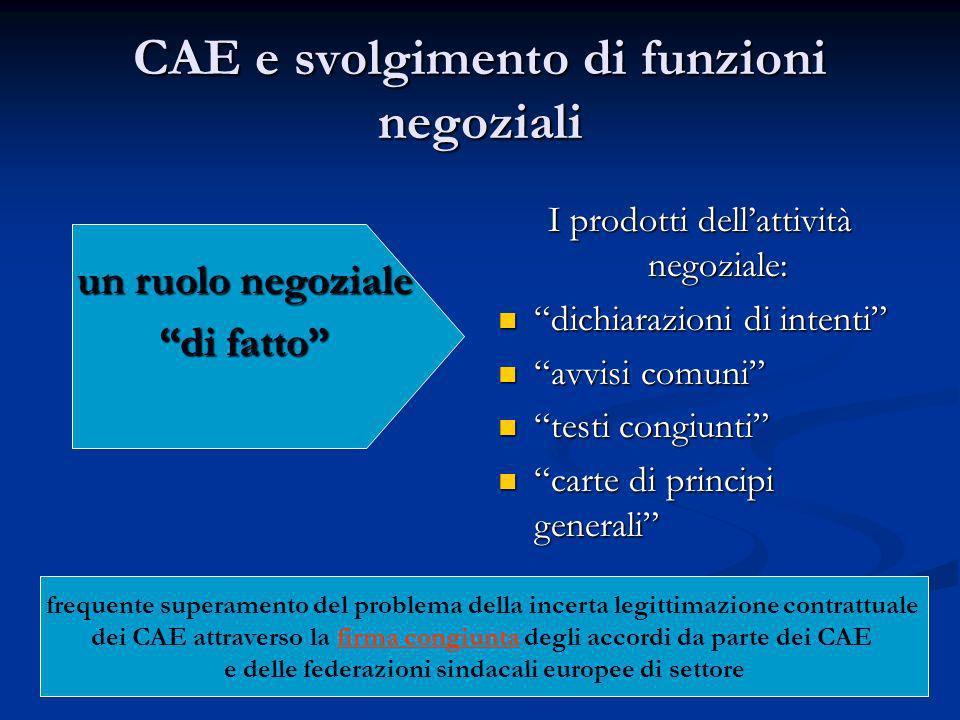 CAE e svolgimento di funzioni negoziali