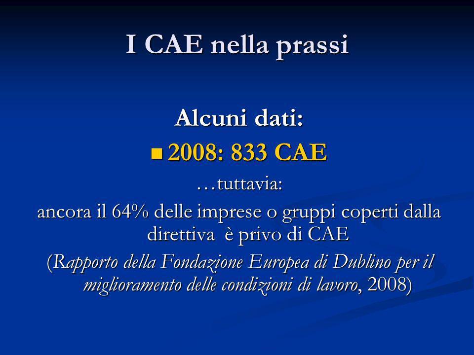I CAE nella prassi Alcuni dati: 2008: 833 CAE …tuttavia: