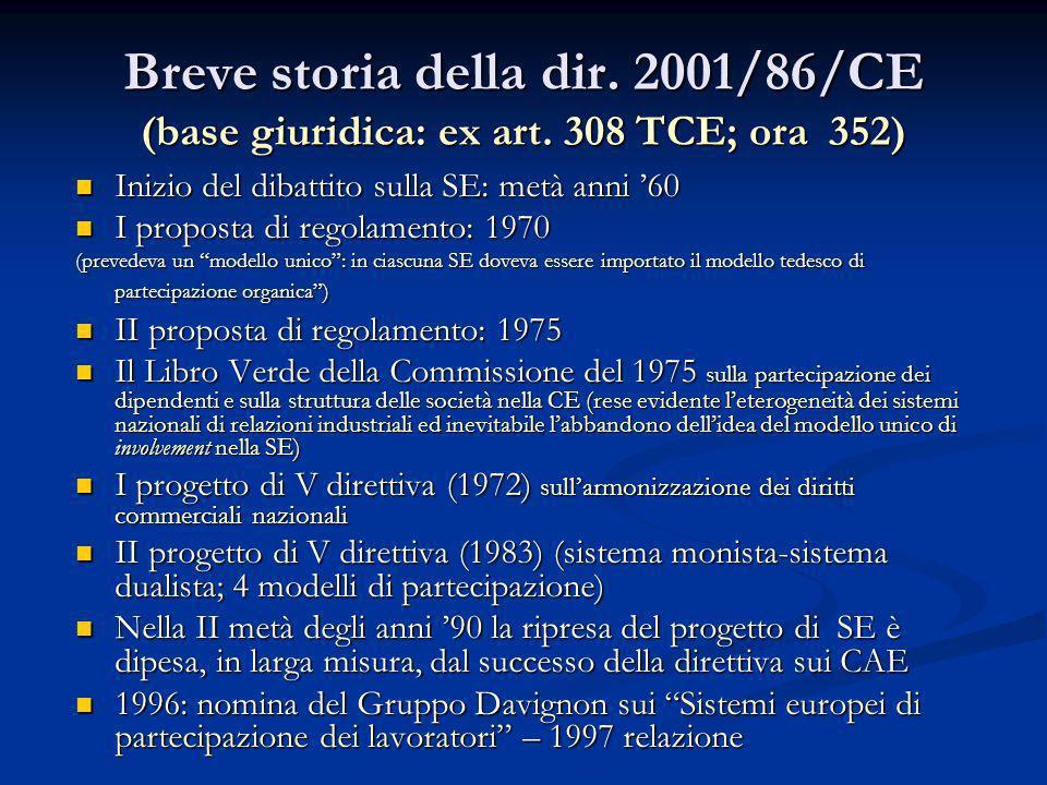 Breve storia della dir. 2001/86/CE (base giuridica: ex art