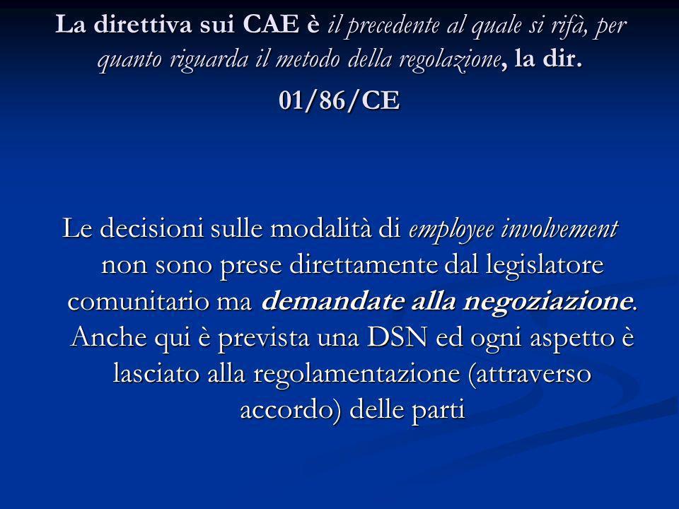 La direttiva sui CAE è il precedente al quale si rifà, per quanto riguarda il metodo della regolazione, la dir. 01/86/CE