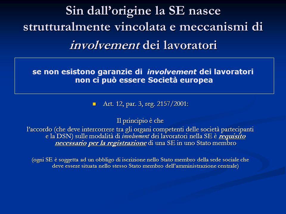 Sin dall'origine la SE nasce strutturalmente vincolata e meccanismi di involvement dei lavoratori