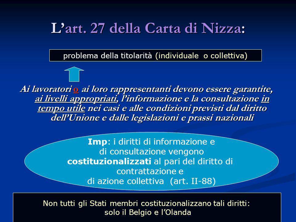L'art. 27 della Carta di Nizza: