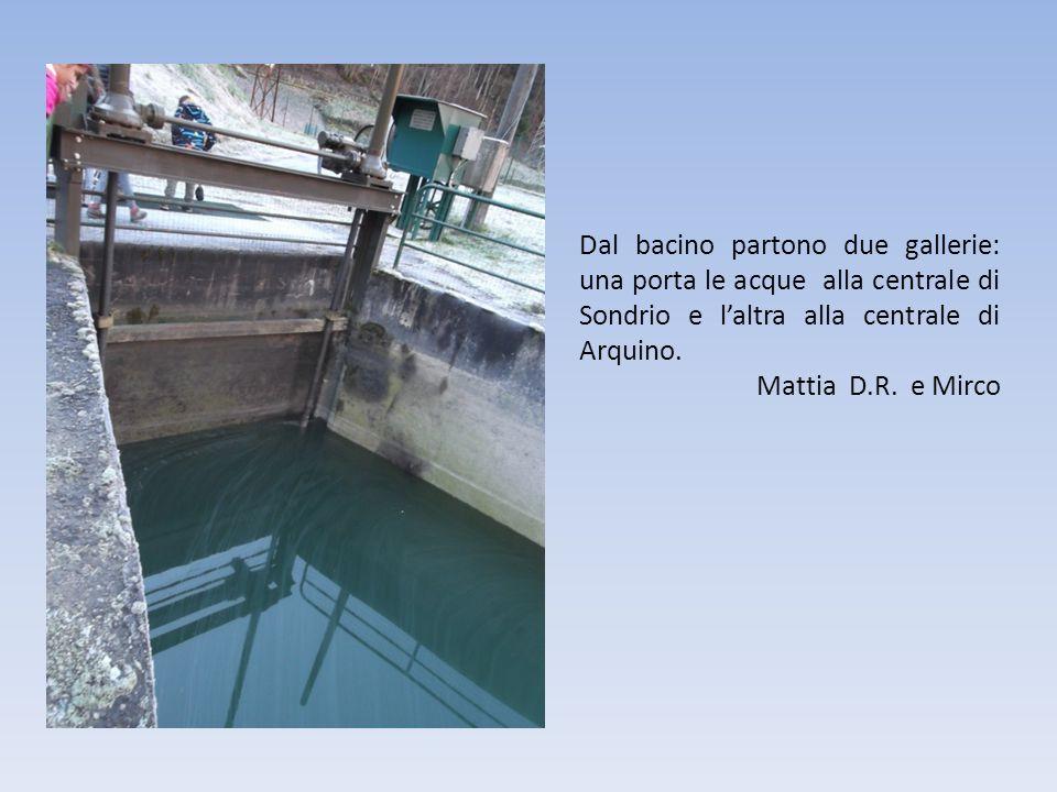 Dal bacino partono due gallerie: una porta le acque alla centrale di Sondrio e l'altra alla centrale di Arquino.