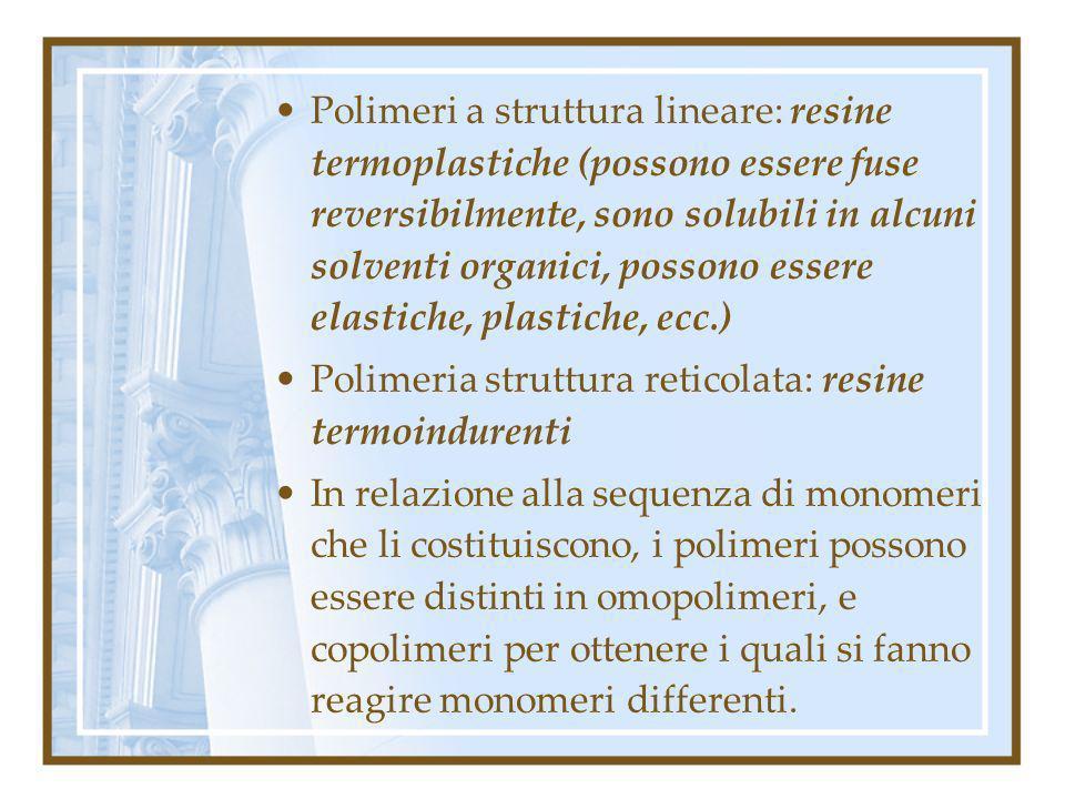 Polimeri a struttura lineare: resine termoplastiche (possono essere fuse reversibilmente, sono solubili in alcuni solventi organici, possono essere elastiche, plastiche, ecc.)
