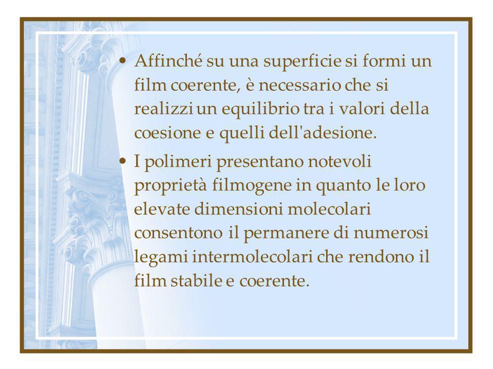 Affinché su una superficie si formi un film coerente, è necessario che si realizzi un equilibrio tra i valori della coesione e quelli dell adesione.