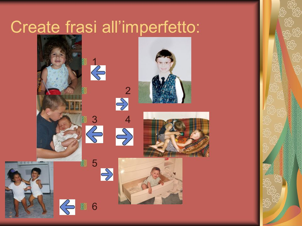 Create frasi all'imperfetto: