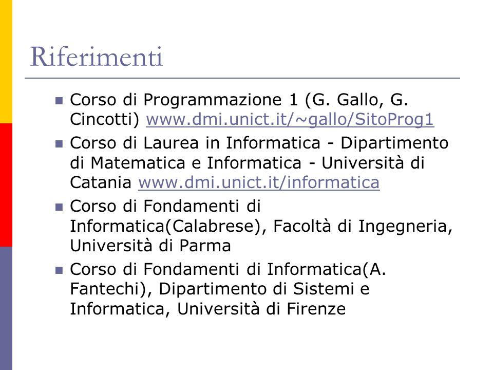 Riferimenti Corso di Programmazione 1 (G. Gallo, G. Cincotti) www.dmi.unict.it/~gallo/SitoProg1.