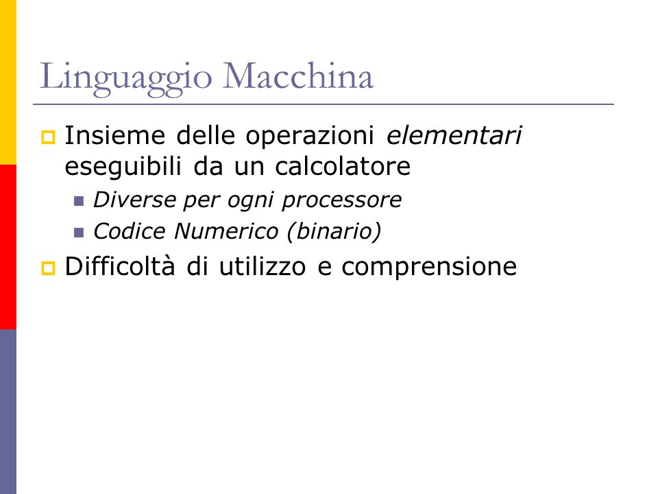 Linguaggio Macchina Insieme delle operazioni elementari eseguibili da un calcolatore. Diverse per ogni processore.