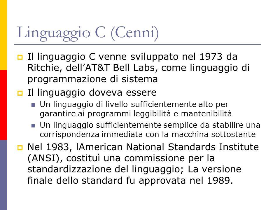 Linguaggio C (Cenni) Il linguaggio C venne sviluppato nel 1973 da Ritchie, dell'AT&T Bell Labs, come linguaggio di programmazione di sistema.