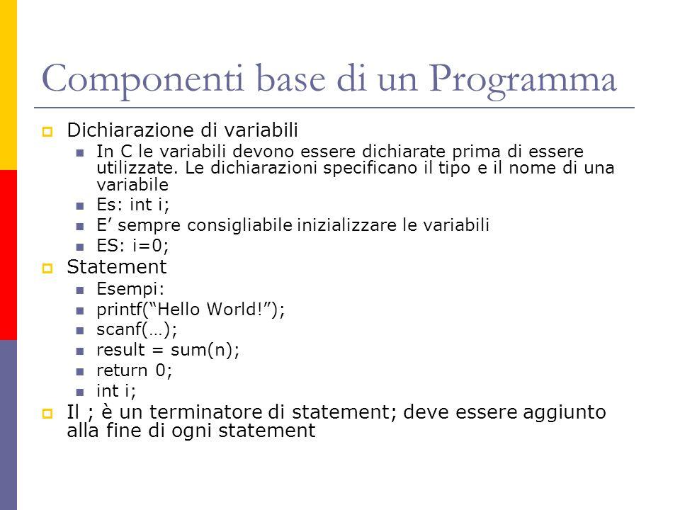 Componenti base di un Programma