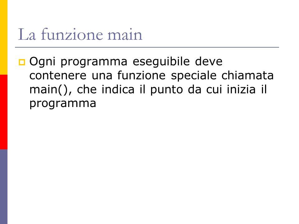 La funzione main Ogni programma eseguibile deve contenere una funzione speciale chiamata main(), che indica il punto da cui inizia il programma.