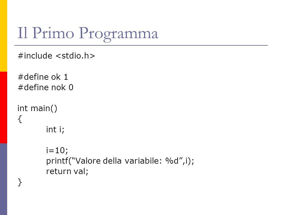 Il Primo Programma #include <stdio.h> #define ok 1 #define nok 0