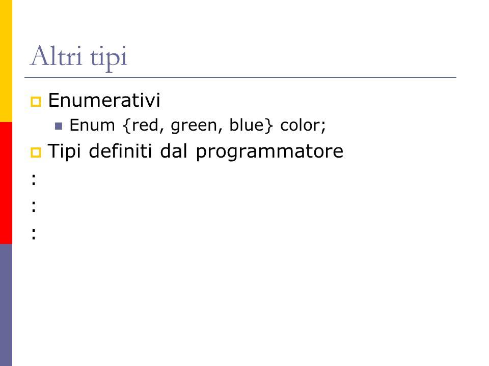 Altri tipi Enumerativi Tipi definiti dal programmatore :