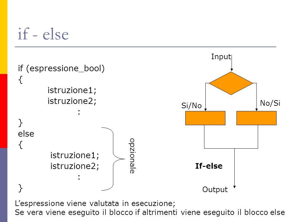 if - else if (espressione_bool) { istruzione1; istruzione2; : } else