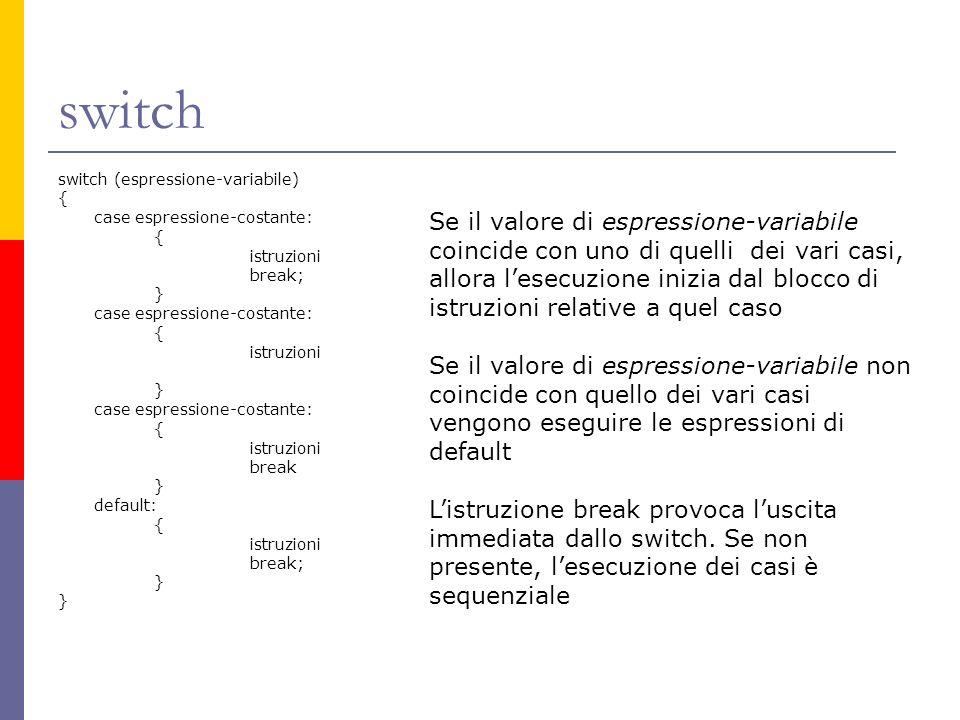 switch switch (espressione-variabile) { case espressione-costante: istruzioni. break; } break.