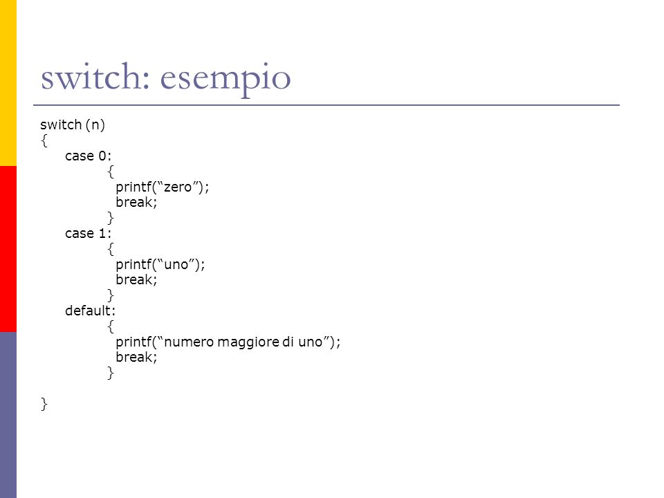 switch: esempio switch (n) { case 0: printf( zero ); break; } case 1: