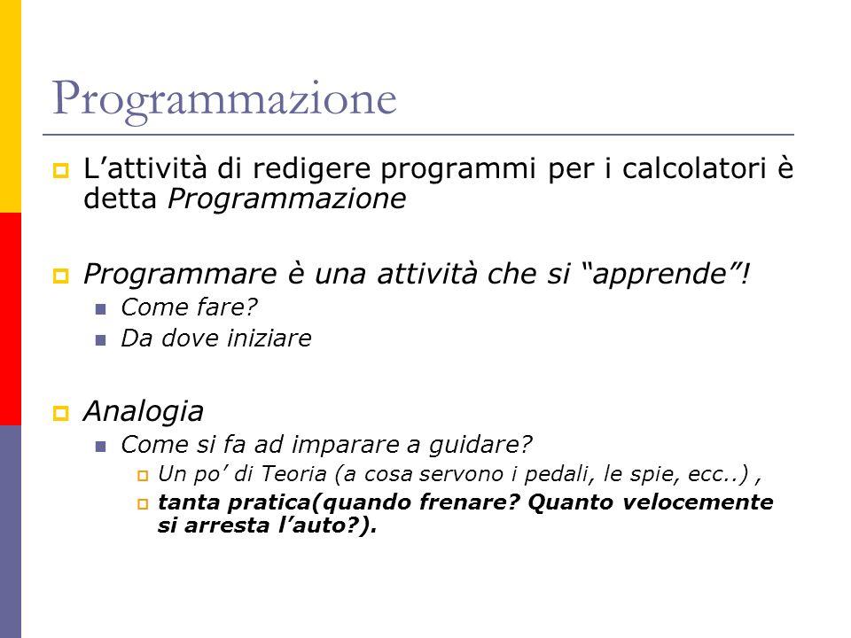 Programmazione L'attività di redigere programmi per i calcolatori è detta Programmazione. Programmare è una attività che si apprende !