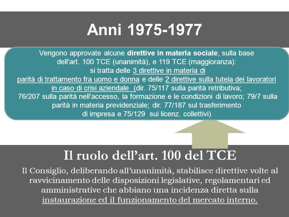 Il ruolo dell'art. 100 del TCE