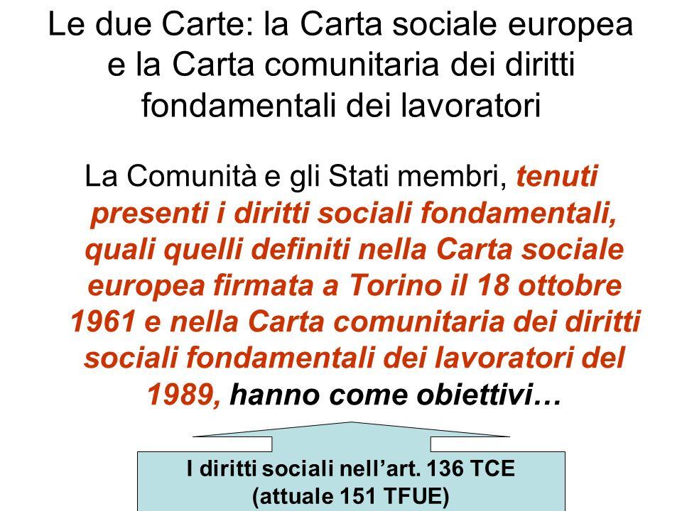 I diritti sociali nell'art. 136 TCE