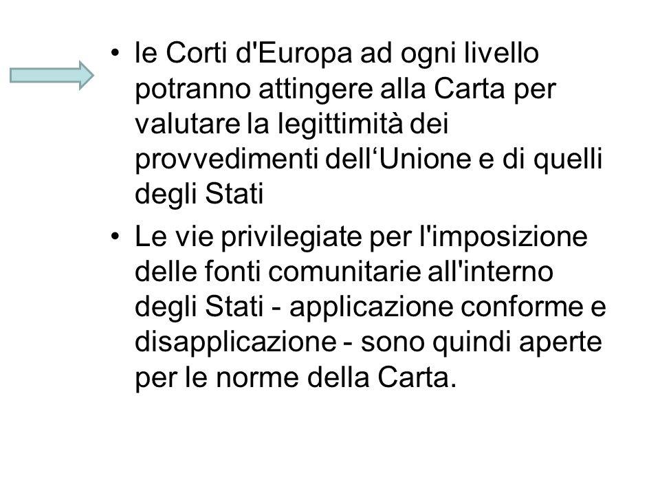 le Corti d Europa ad ogni livello potranno attingere alla Carta per valutare la legittimità dei provvedimenti dell'Unione e di quelli degli Stati